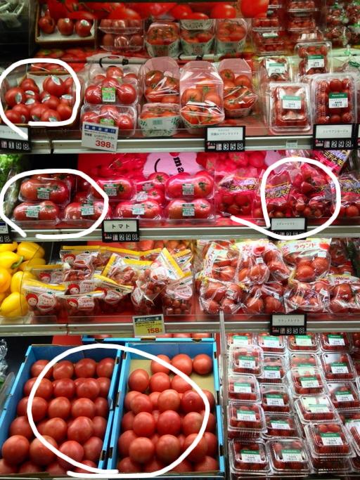 赤く輝くトマトたち