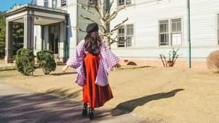 「しまむらのレザースカート可愛すぎないか?駆け込みます。」「着物としまむらのレザースカートでコーデ組んだら相性良すぎてビックリ…!」(1/2)