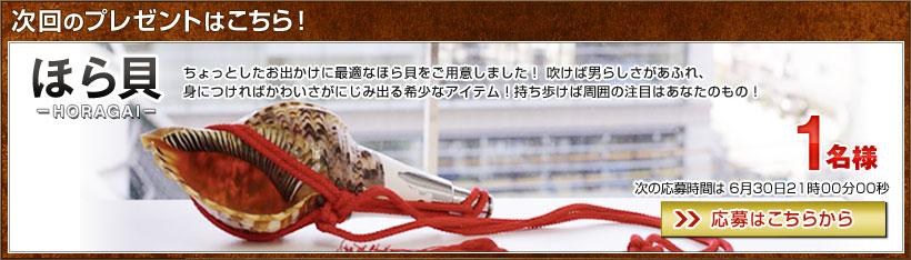 次回のプレゼントはこちら!ほら貝を1名に 次回応募日時:6月30日21時00分00秒【応募はこちらから】